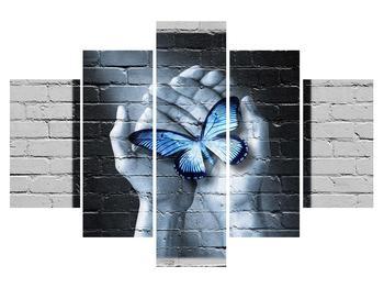 Moderný obraz dlaní s motýľom (K012333K150105)
