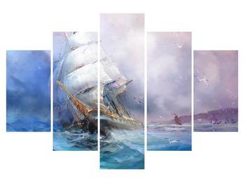Tablou cu navă pe mare în furtună (K012372K150105)