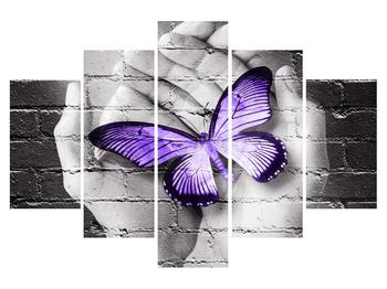 Tablou modern cu palmă și fluture (K012389K150105)