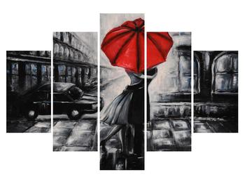 Obraz zamilovaného páru pod deštníkem (K012433K150105)