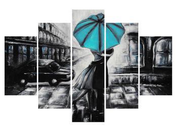 Obraz zamilovaného páru pod dáždnikom (K012472K150105)