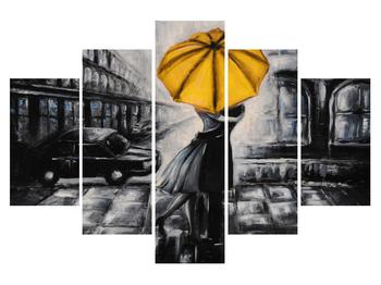 Obraz zamilovaného páru pod dáždnikom (K012474K150105)