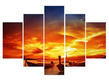 Obraz lodí pri západe slnka (K012508K150105)
