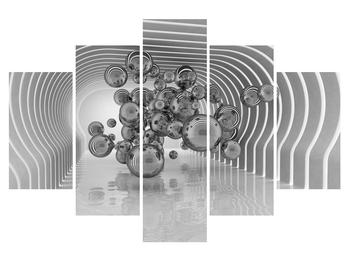 Tablou abstract albnegru -buline (K012813K150105)