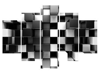 Tablou abstract albnegru - zaruri (K012821K150105)