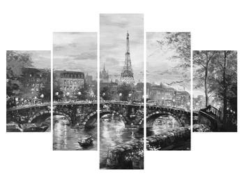 Obraz černobílé krajiny s Eiffelovou věží (K013569K150105)
