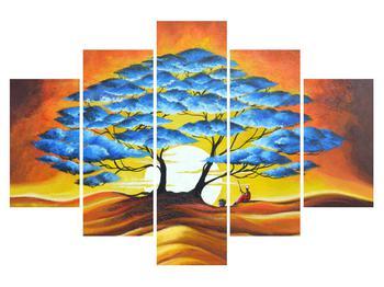 Orientální obraz modrého stromu a slunce (K013895K150105)