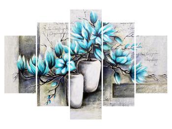 Obraz modrých květů ve váze (K013907K150105)