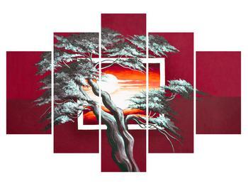 Tablou modern cu copac și răsărit de soare (K014022K150105)