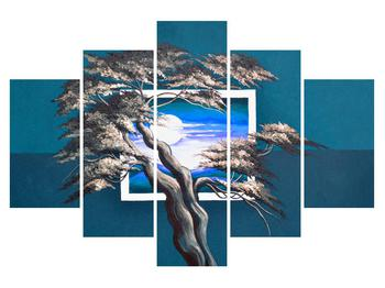 Modrý obraz stromu a východu slunce (K014023K150105)