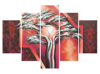 Tablou oriental roșu cu pom și soare (K014068K150105)