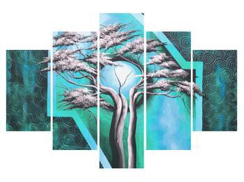 Orientální modrý obraz stromu a slunce (K014069K150105)