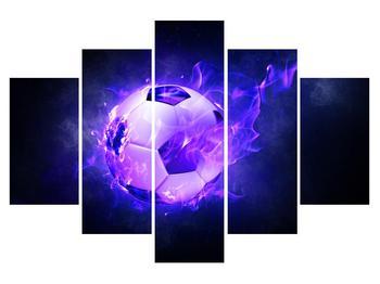 Obraz fotbalového míče v modrém ohni (K014164K150105)