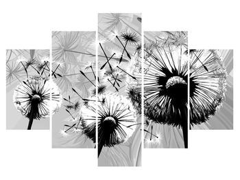 Tablou modern cu păpădii alb negre (K014188K150105)