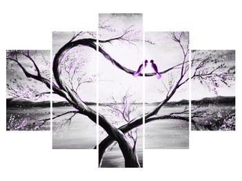 Obraz dvoch fialových vtákov na strome (K014200K150105)