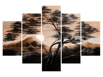 Tablou cu pom, munți și soare (K014440K150105)