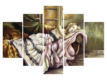 Obraz nešťastné ženy v šatech (K014687K150105)