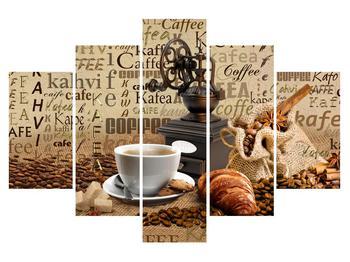 Obraz kávy, mlynčeka a croissantov (K014713K150105)