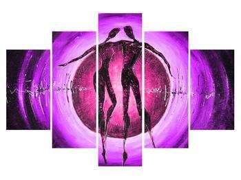 Moderní fialový obraz dvou postav (K014770K150105)
