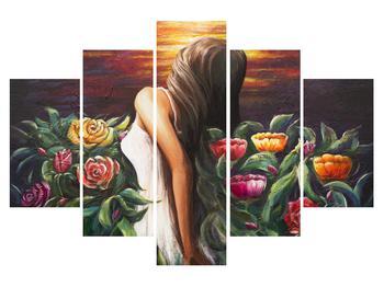 Obraz ženy a květin (K014773K150105)