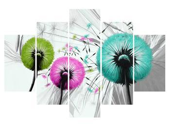 Tablou cu păpădii colorate cu fulgi (K014960K150105)