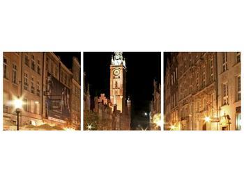Obraz noční ulice s věží (F002338F15050)