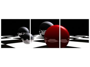 Obraz čtyř koulí na šachovnici - červená (F004098F15050)