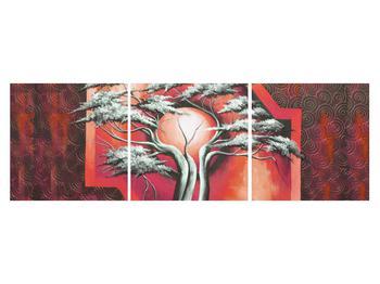 Tablou oriental roșu cu pom și soare (K014068K15050)