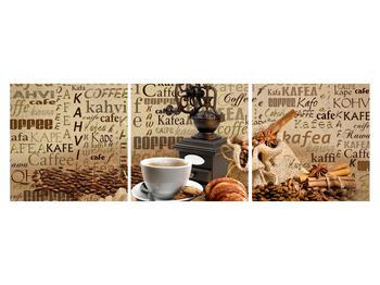 Obraz kávy, mlýnku a croissantů (K014713K15050)