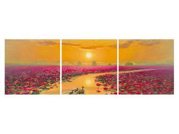 Tblou cu flori de lotus și rațe (K014993K15050)