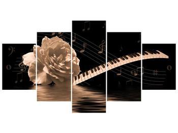 Černobílý obraz růže a klavíru (F001875F150805PCS)