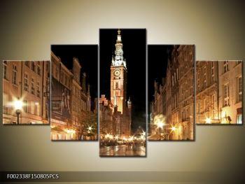Obraz noční ulice s věží (F002338F150805PCS)