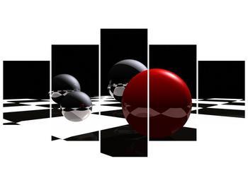 Obraz čtyř koulí na šachovnici - červená (F004098F150805PCS)