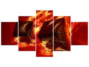 Moderní obraz hořících herních kostek (F004319F150805PCS)