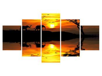 Obraz africké krajiny se slonem (K012025K150805PCS)