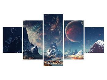 Tablou cu peisaj montan cu planete (K012168K150805PCS)