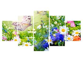 Nyári virágok és a lepke képe (K012220K150805PCS)