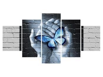Moderní obraz dlaní s motýlem (K012333K150805PCS)