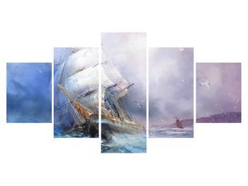 Obraz lodě na rozbouřeném moři (K012372K150805PCS)