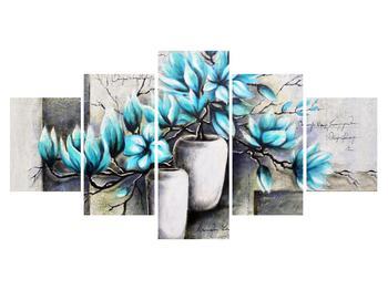 Obraz modrých květů ve váze (K013907K150805PCS)