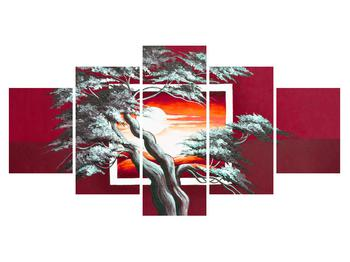 Moderní obraz stromu a východu slunce (K014022K150805PCS)