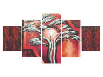 Tablou oriental roșu cu pom și soare (K014068K150805PCS)