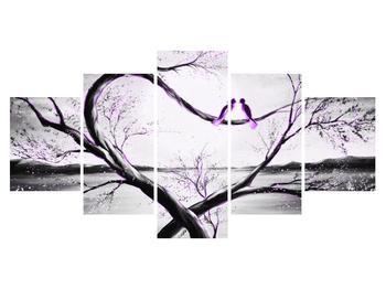 Obraz dvou fialových ptáků na stromě (K014200K150805PCS)