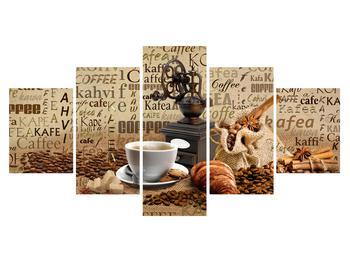 Obraz kávy, mlýnku a croissantů (K014713K150805PCS)