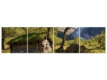 Obraz horské chatrče (F001636F16040)