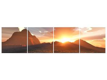 Obraz západu slunce nad horama (F001700F16040)