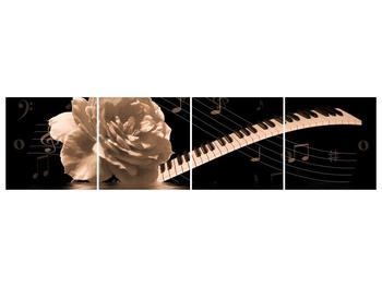 Černobílý obraz růže a klavíru (F001875F16040)
