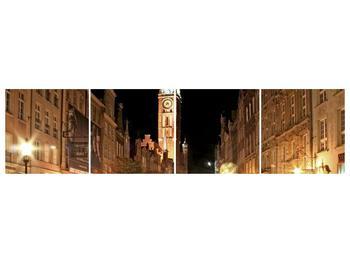 Obraz noční ulice s věží (F002338F16040)