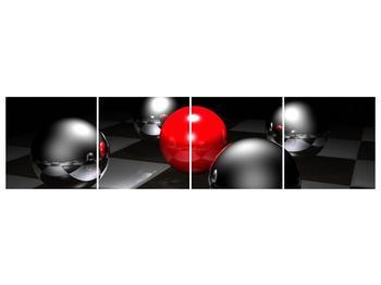 Obraz pěti koulí na šachovnici - červená (F004089F16040)