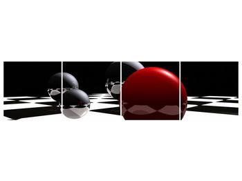 Obraz čtyř koulí na šachovnici - červená (F004098F16040)